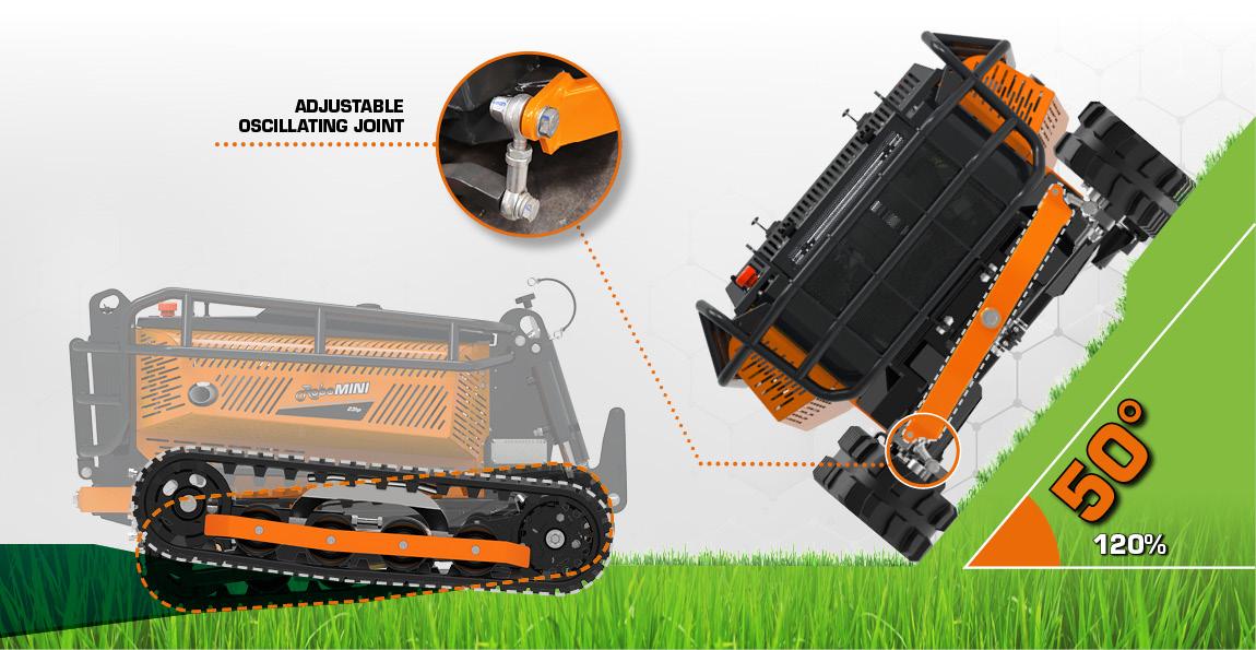 robomini - adjustable oscillating joints - energreen professional machines