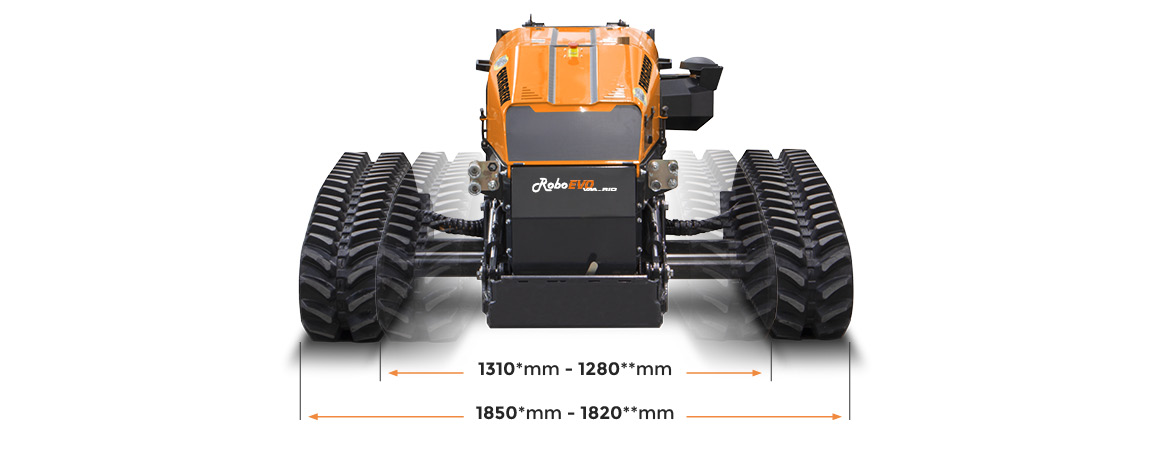 roboevo vaario - dimensions - radio controlled tracked mulcher slopes - energreen professional machines