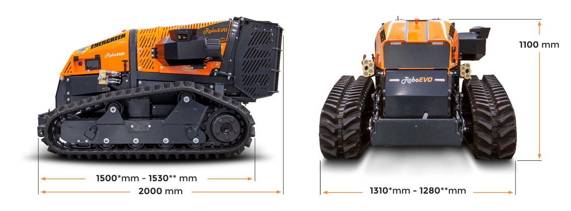roboevo - remote controlled mulcher - dimensions - energreen professional machines