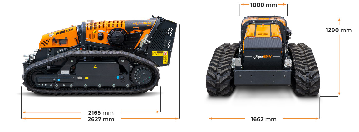 robomax - forestry mulcher - dimensions - energreen professional machines
