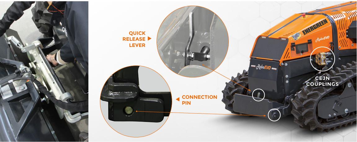 roboevo vaario - front lift attachment - remote controlled mower - energreen professional machines