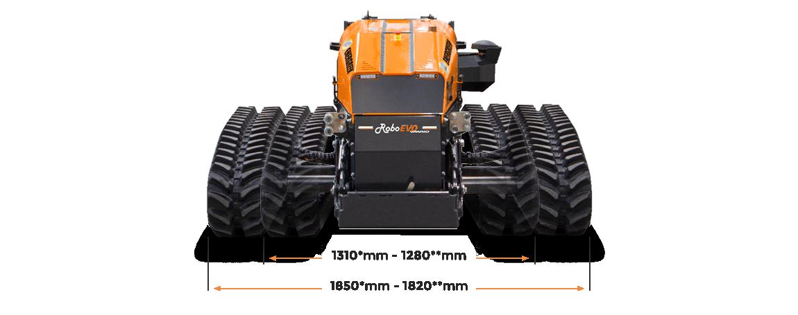 roboevo vaario - dimensions - remote controlled mower - energreen professional machines
