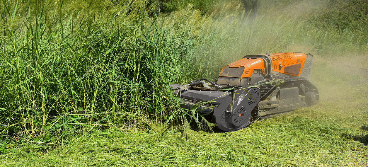 remote controlled tools carrier - robomax - forestry works - cutting head - energreen professional machines